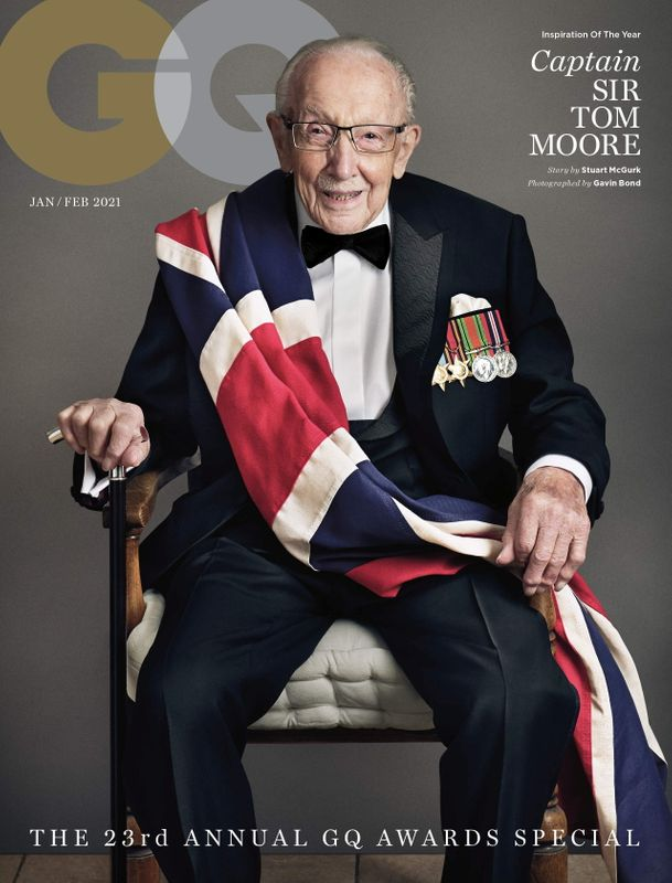 Captain Sir Tom Moore wearing Boss poses for a GQ January/February 2021 issue cover