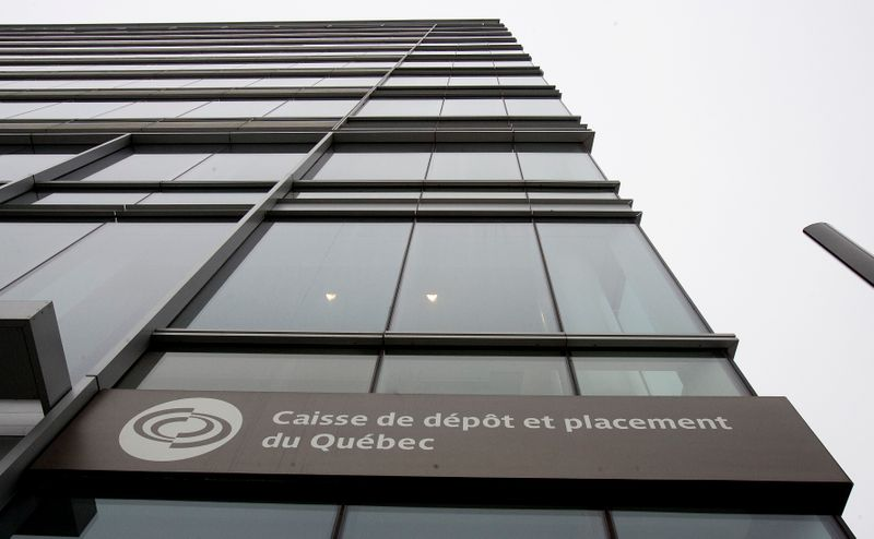 The Caisse de Depot et Placement du Quebec sign shown from their headquarters in downtown Montreal