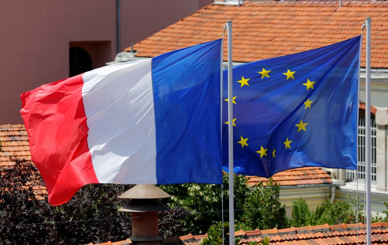 Flags of France and European Union flutter above the French Consulate in central Istanbul