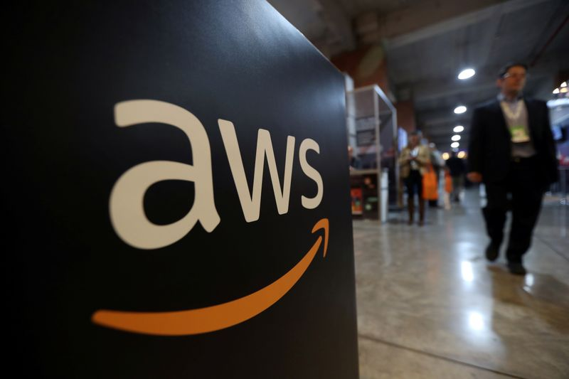 FILE PHOTO: The logo of Amazon Web Services (AWS) is seen during the 4th annual America Digital Latin American Congress of Business and Technology in Santiago