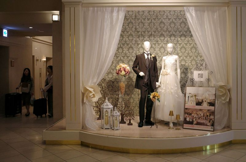 FILE PHOTO: A wedding shop display is seen at an official hotel of the Rugby World Cup in Sapporo