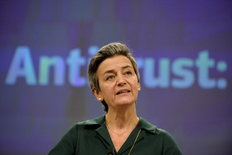 FILE PHOTO: European Executive Vice- President Margrethe Vestager gives a news conference on antitrust case at European Commission in Brussels