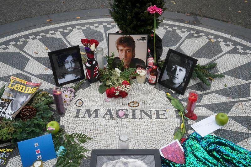 The Imagine mosaic in the Strawberry Fields section of Central Park is pictured on the 40th anniversary of John Lennon's death in New York City