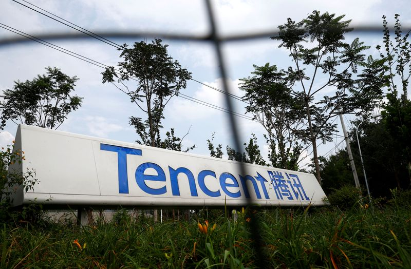 FILE PHOTO: A logo of Chinese tech firm Tencent, owner of messaging app WeChat, is pictured in Beijing