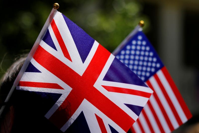 FILE PHOTO: British and American flags on display in Los Angeles