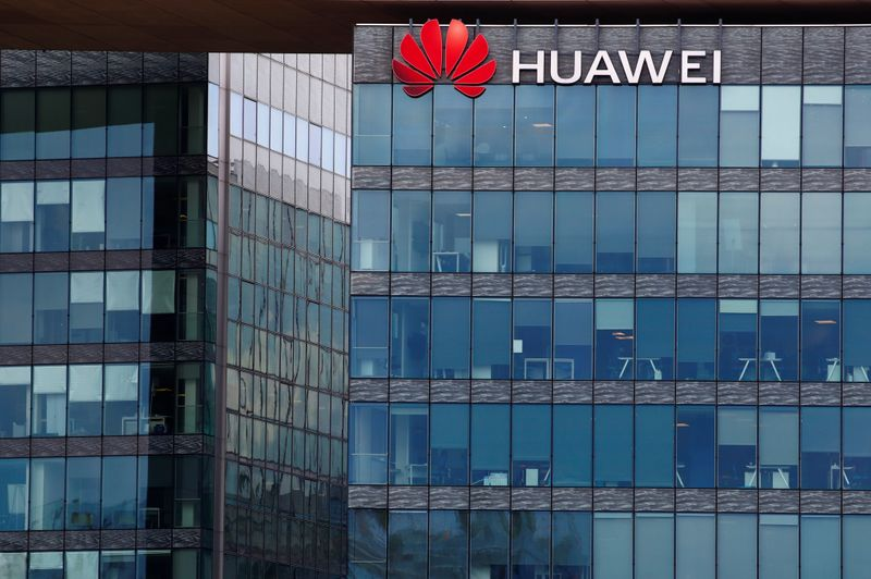 Huawei logo at Huawei Technologies France in Boulogne-Billancourt