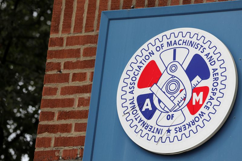 FILE PHOTO:  Signage is seen outside of an International Association of Machinists and Aerospace Workers labor union in Brooklyn, New York City