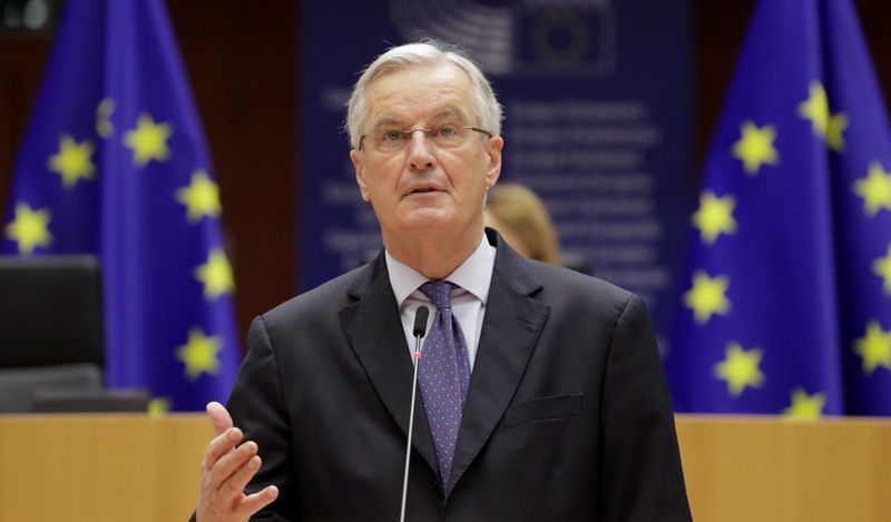 EU chief Brexit negotiator Michel Barnier addresses the European Parliament in Brussels