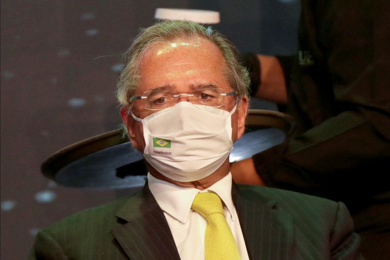 FILE PHOTO: Brazil's Economy Minister Paulo Guedes attends a seminar on the resumption of the Brazilian economy, in Brasilia