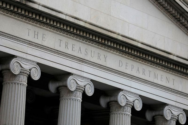 FILE PHOTO: The U.S. Department of the Treasury is seen in Washington, D.C.