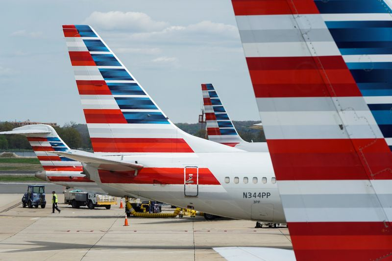 American Airlines planes are parked at the gate during the coronavirus disease (COVID-19) outbreak  in Washington