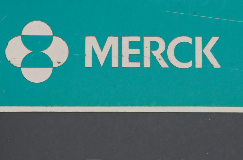 The Merck logo is seen on a sign at the Merck & Co campus in Linden, New Jersey