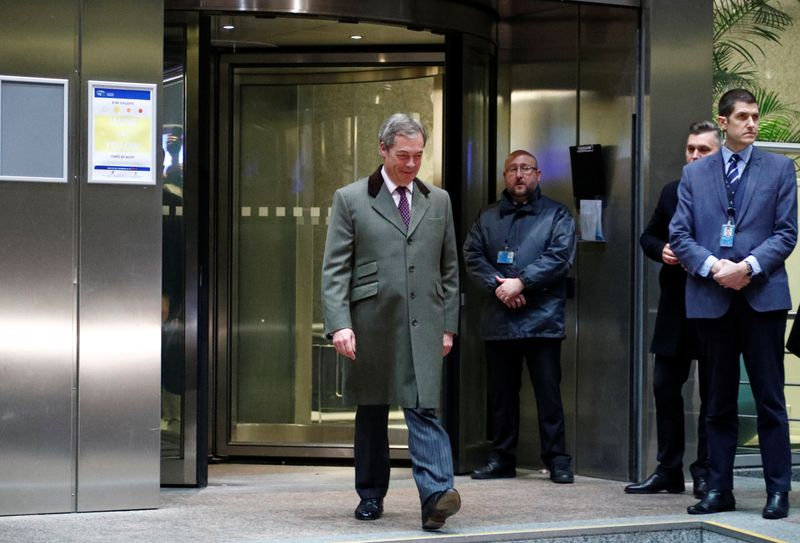 Brexit Party leader Nigel Farage leaves the European Parliament for the last time