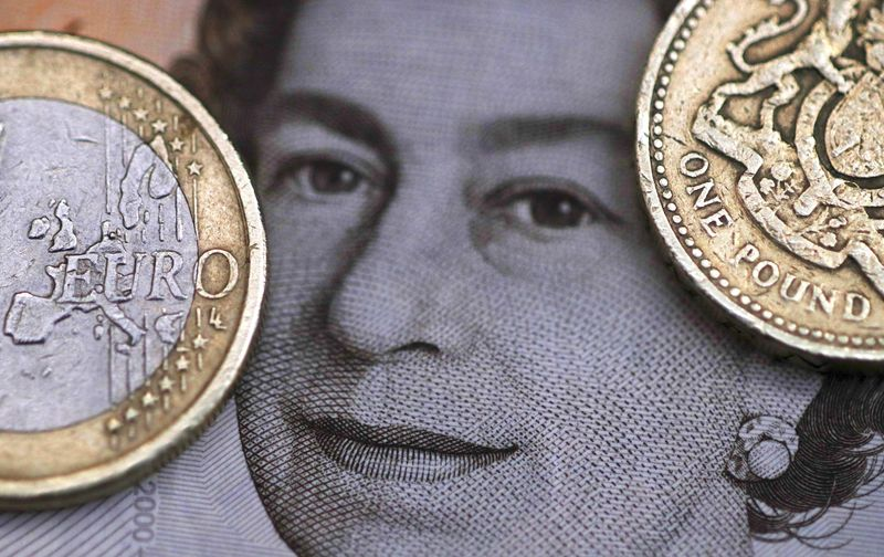 File photo illustration of a two Euro coin pictured next to a one Pound coin on top of a portrait of Britain's Queen Elizabeth