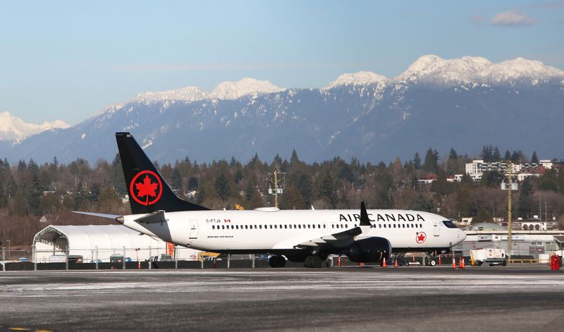 An Air Canada Boeing 737airplane is pictured at Vancouver's international airport in Richmond,