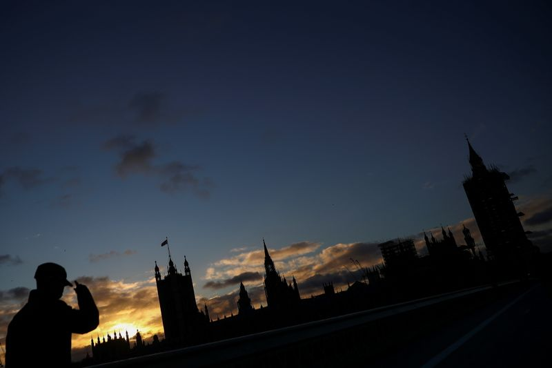 A general view of The Houses of Parliament silhouetted, in London