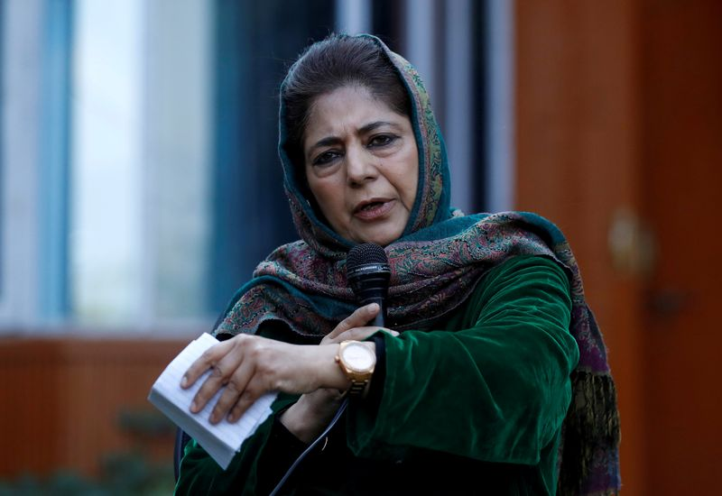 FILE PHOTO: Mehbooba Mufti addresses a news conference in Srinagar