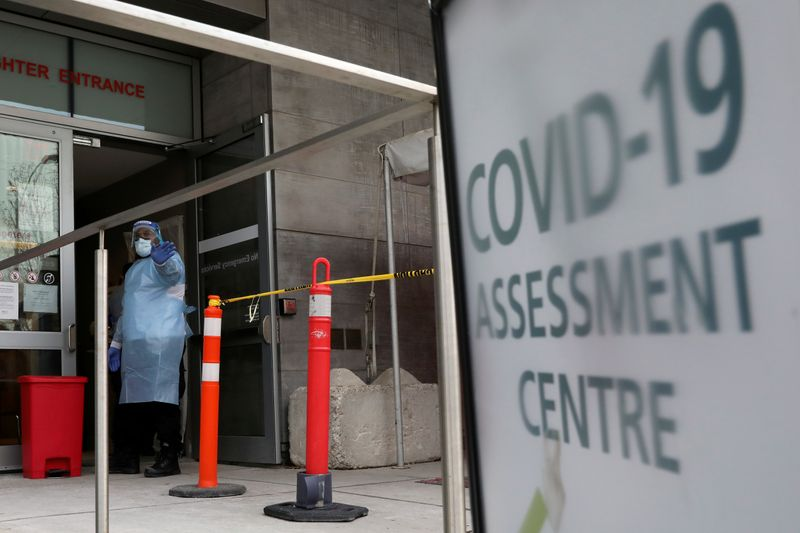 FILE PHOTO: A nurse guides people being tested for coronavirus disease (COVID-19) outside a hospital in Toronto