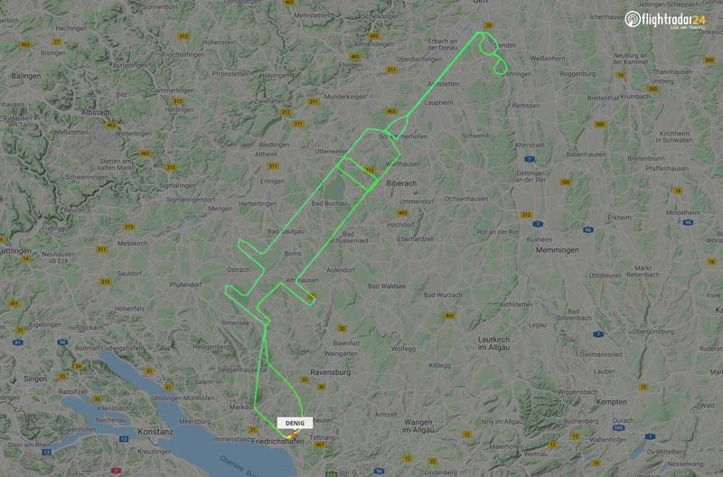 Flight track for a D-ENIG plane that traced a syringe on the maps in Germany to celebrate the arrival of a COVID-19 vaccine