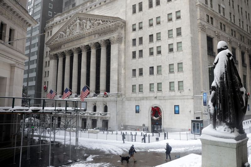 View of NYSE building in New York City