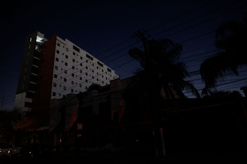 General view shows an apartment building without electric light during an outage in Mexico's electricity network that left 10.3 million users without power for up to two hours, in Monterrey