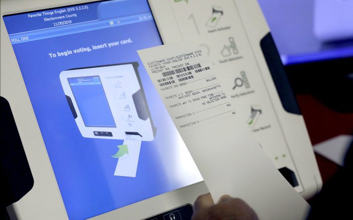 An electronic voting machines that produces a paper receipt from Election Services