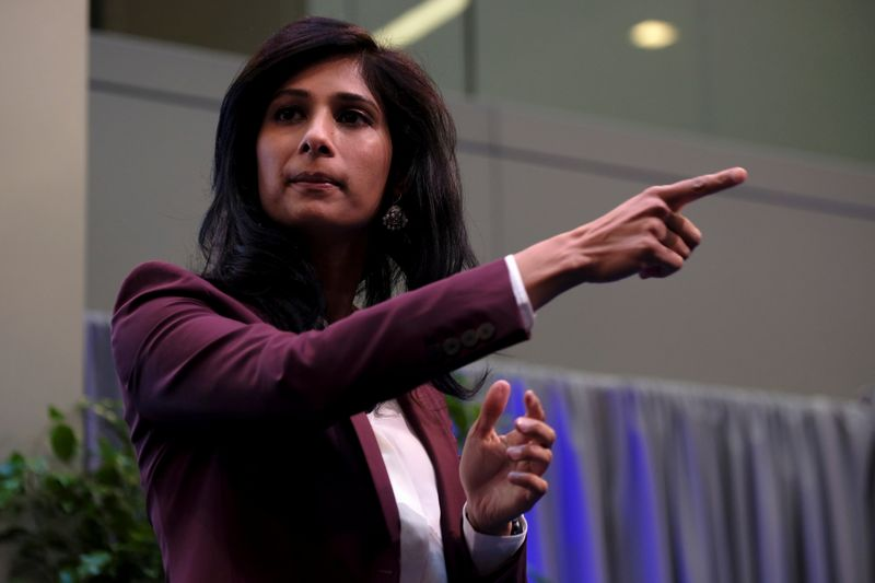International Monetary Fund Chief Economist Gita Gopinath takes questions at the annual meetings of the IMF and World Bank in Washington