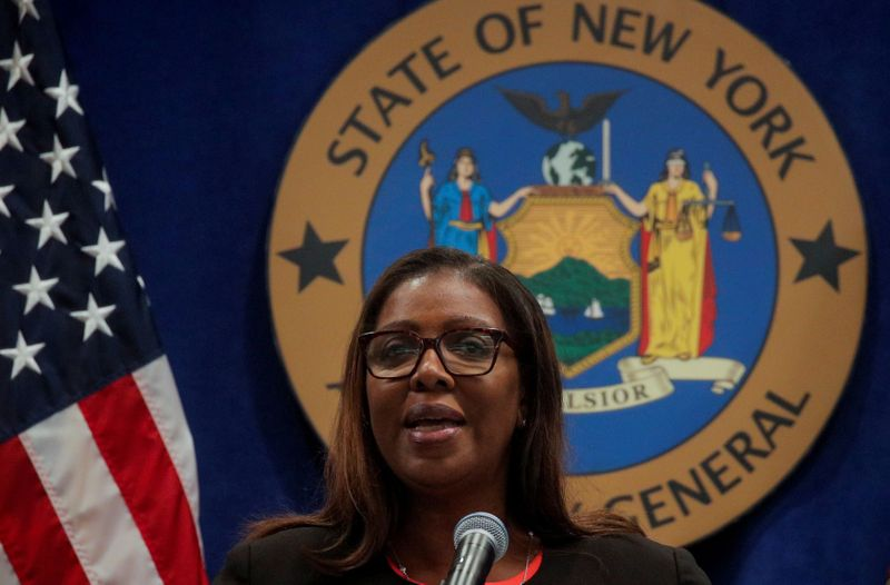FILE PHOTO: New York State Attorney General Letitia James speaks speaks at a news conference