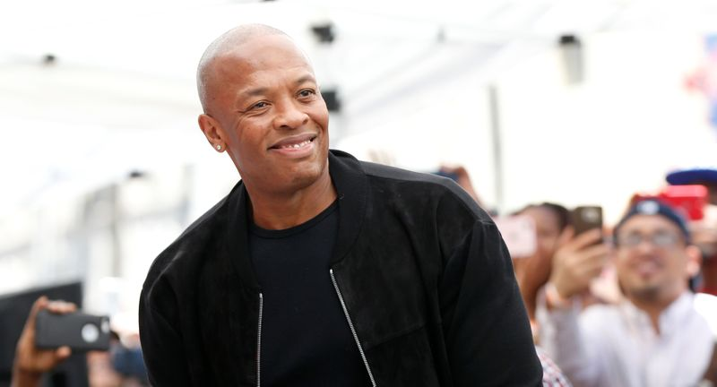 Rapper and music producer Dr. Dre attends the unveiling for the star of rapper Ice Cube on the Hollywood Walk of Fame in Los Angeles