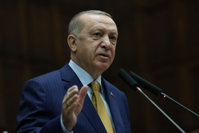 Turkish President Erdogan addresses members of his ruling AK Party during a meeting at the parliamentin Ankara