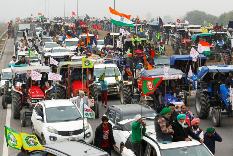 Rally to protest against the newly passed farm bills, on a highway on the outskirts of New Delhi