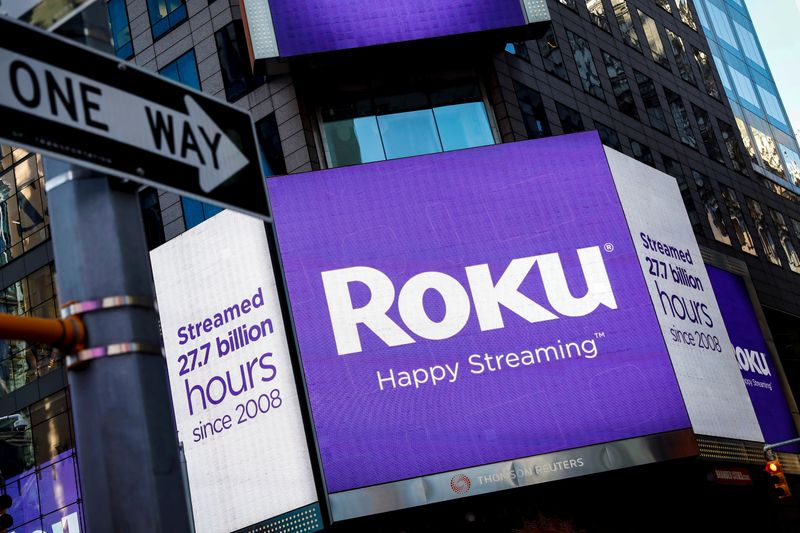FILE PHOTO A video sign displays the logo for Roku Inc, a Fox-backed video streaming firm, in Times Square after the company's IPO at the Nasdaq Market in New York