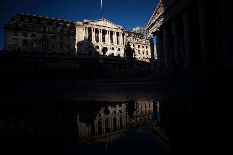 A general view shows the Bank of England in London