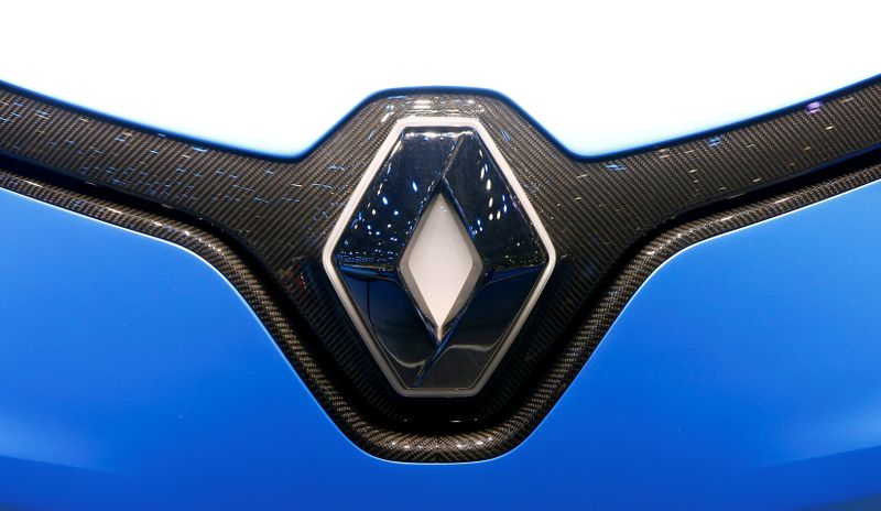 FILE PHOTO: The logo of Renault is seen during the 87th International Motor Show at Palexpo in Geneva