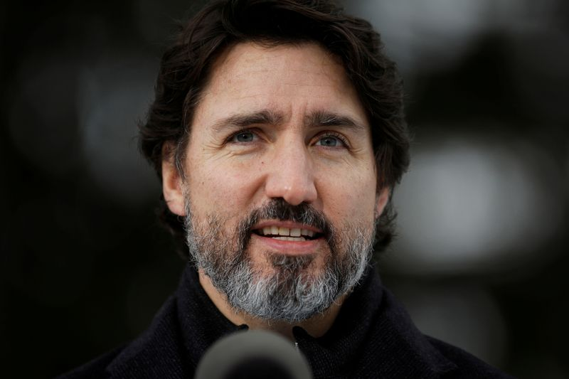 FILE PHOTO: Canada's Prime Minister Justin Trudeau attends a news conference at the Dominion Arboretum in Ottawa