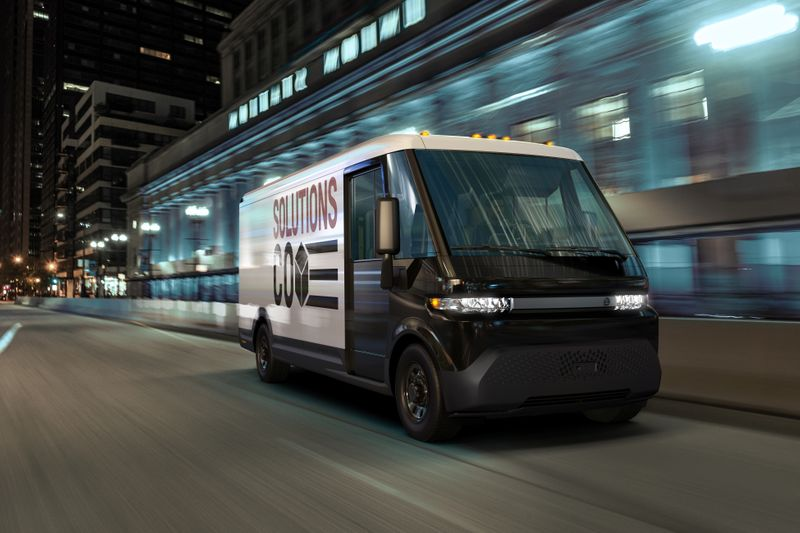 GM's new EV600 electric van is seen in an undated photograph released in Detroit