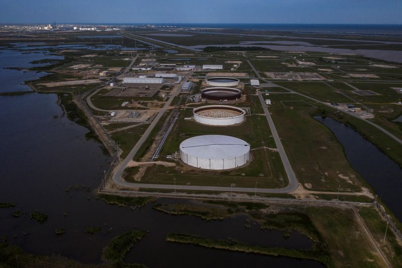 FILE PHOTO: The Bryan Mound Strategic Petroleum Reserve is seen in an aerial photograph over Freeport, Texas