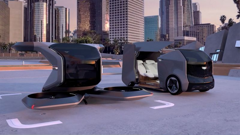 Two futuristic Cadillac concepts are seen in a still image from video presented by General Motors (GM) at the 2021 CES