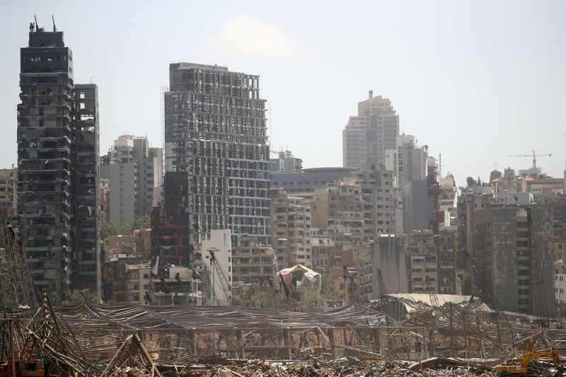 FILE PHOTO: A general view shows damage following blast in Beirut's port area, Lebanon August 8,