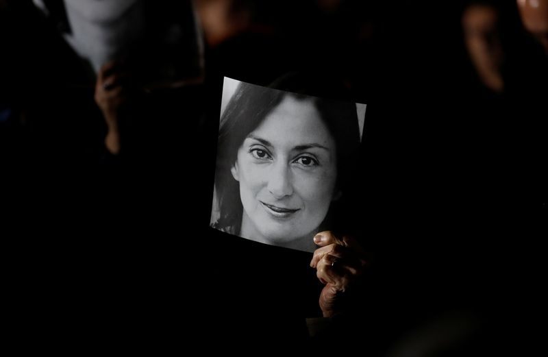 Demonstration to demand justice over the murder of journalist Daphne Caruana Galizia outside the Office of the Prime minister at Auberge de Castle, in Valletta