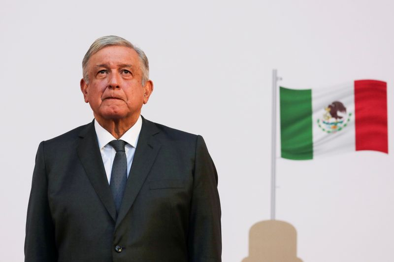FILE PHOTO: Mexico President Andres Manuel Lopez Obrador listens to the national anthem after addressing the nation