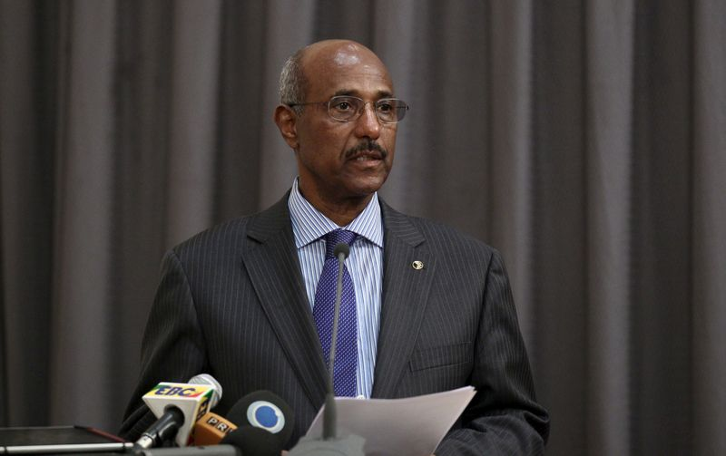 FILE PHOTO: Seyoum Mesfin addresses the final mediation report on South Sudan in Ethiopia's capital Addis Ababa