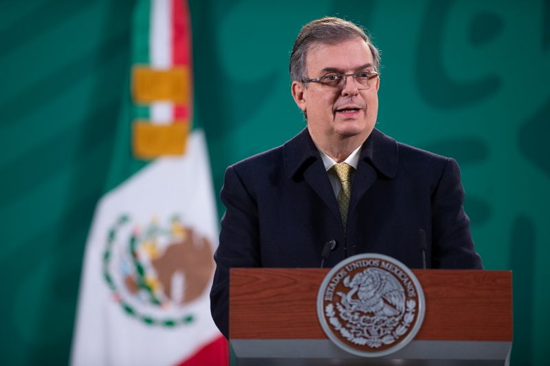 Mexico's Foreign Minister Marcelo Ebrard speaks during a news conference, at the National Palace in Mexico City