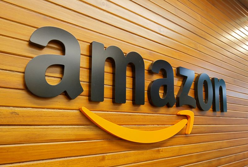 FILE PHOTO: FILE PHOTO: The logo of Amazon is pictured inside the company's office in Bengaluru