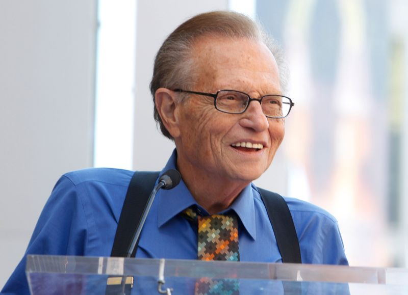 CNN talk show host Larry King speaks at ceremonies unveiling comedian Bill Maher's star on the Hollywood Walk of Fame  in Hollywood