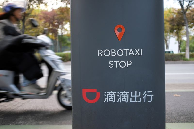 A station for Didi Chuxing's autonomous driving taxi is seen in Shanghai
