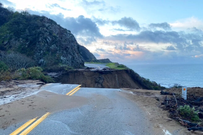 Section of Calif. Highway 1 collapses following torrential rainstorm
