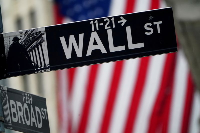 FILE PHOTO: FILE PHOTO: FILE PHOTO: A Wall Street sign is pictured outside the New York Stock Exchange, in New York City
