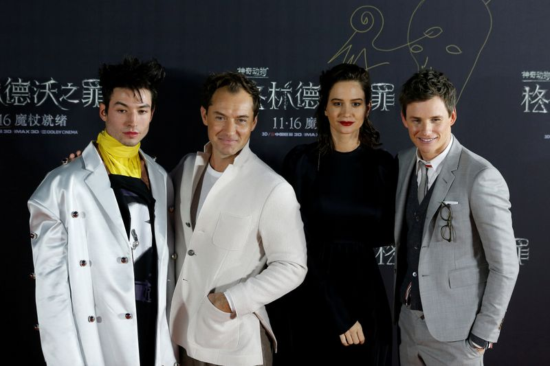 """Cast members Ezra Miller, Jude Law, Katherine Waterston and Eddie Redmayne attend a promotion for the movie """"Fantastic Beasts: The Crimes of Grindelwald"""" in Beijing"""