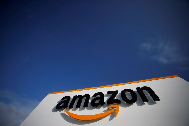 FILE PHOTO: FILE PHOTO: The logo of Amazon is seen at the company logistics centre in Boves